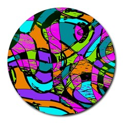 Abstract Art Squiggly Loops Multicolored Round Mousepads by EDDArt
