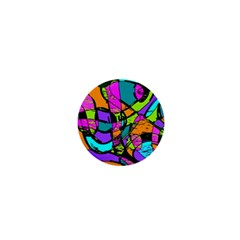 Abstract Art Squiggly Loops Multicolored 1  Mini Buttons by EDDArt
