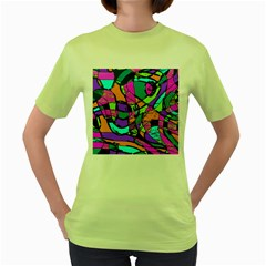 Abstract Art Squiggly Loops Multicolored Women s Green T Shirt by EDDArt
