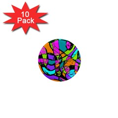 Abstract Art Squiggly Loops Multicolored 1  Mini Magnet (10 Pack)  by EDDArt