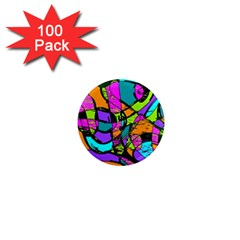 Abstract Art Squiggly Loops Multicolored 1  Mini Magnets (100 Pack)  by EDDArt