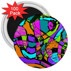 Abstract Art Squiggly Loops Multicolored 3  Magnets (100 Pack) by EDDArt