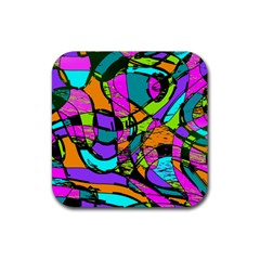 Abstract Art Squiggly Loops Multicolored Rubber Square Coaster (4 Pack)  by EDDArt