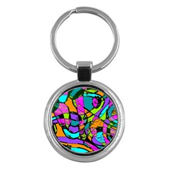 Abstract Art Squiggly Loops Multicolored Key Chains (round)  by EDDArt