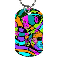 Abstract Art Squiggly Loops Multicolored Dog Tag (two Sides) by EDDArt