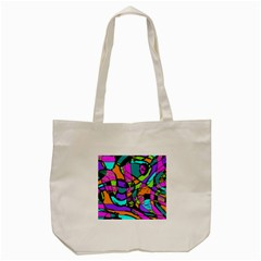 Abstract Art Squiggly Loops Multicolored Tote Bag (cream) by EDDArt