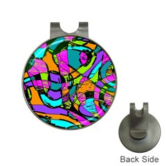 Abstract Art Squiggly Loops Multicolored Hat Clips With Golf Markers by EDDArt