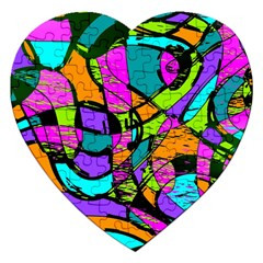 Abstract Art Squiggly Loops Multicolored Jigsaw Puzzle (heart) by EDDArt