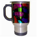 Abstract Art Squiggly Loops Multicolored Travel Mug (Silver Gray) Left