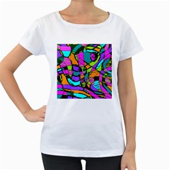 Abstract Art Squiggly Loops Multicolored Women s Loose Fit T Shirt (white) by EDDArt