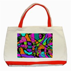 Abstract Art Squiggly Loops Multicolored Classic Tote Bag (red) by EDDArt