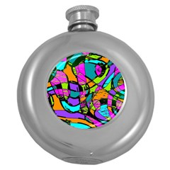 Abstract Art Squiggly Loops Multicolored Round Hip Flask (5 Oz) by EDDArt