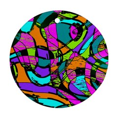 Abstract Art Squiggly Loops Multicolored Round Ornament (two Sides) by EDDArt