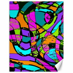 Abstract Art Squiggly Loops Multicolored Canvas 12  X 16   by EDDArt