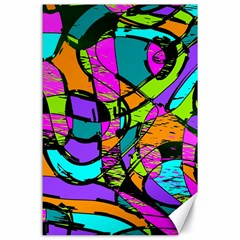 Abstract Art Squiggly Loops Multicolored Canvas 24  X 36  by EDDArt