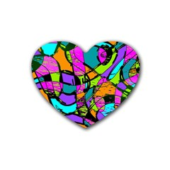 Abstract Art Squiggly Loops Multicolored Rubber Coaster (heart)  by EDDArt