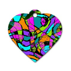 Abstract Art Squiggly Loops Multicolored Dog Tag Heart (two Sides) by EDDArt