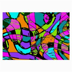 Abstract Art Squiggly Loops Multicolored Large Glasses Cloth (2 Side) by EDDArt