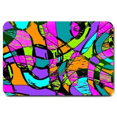 Abstract Art Squiggly Loops Multicolored Large Doormat  by EDDArt