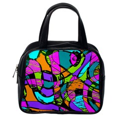 Abstract Art Squiggly Loops Multicolored Classic Handbags (one Side) by EDDArt
