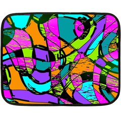 Abstract Art Squiggly Loops Multicolored Double Sided Fleece Blanket (mini)  by EDDArt