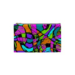 Abstract Art Squiggly Loops Multicolored Cosmetic Bag (small)  by EDDArt