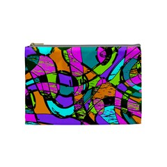Abstract Art Squiggly Loops Multicolored Cosmetic Bag (medium)  by EDDArt