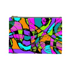 Abstract Art Squiggly Loops Multicolored Cosmetic Bag (large)  by EDDArt