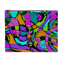 Abstract Art Squiggly Loops Multicolored Cosmetic Bag (xl) by EDDArt