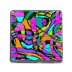 Abstract Art Squiggly Loops Multicolored Memory Card Reader (square) by EDDArt