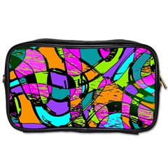 Abstract Art Squiggly Loops Multicolored Toiletries Bags 2 Side by EDDArt