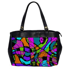 Abstract Art Squiggly Loops Multicolored Office Handbags by EDDArt