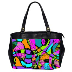 Abstract Art Squiggly Loops Multicolored Office Handbags (2 Sides)  by EDDArt