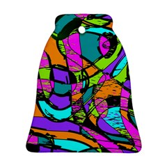 Abstract Art Squiggly Loops Multicolored Ornament (bell) by EDDArt
