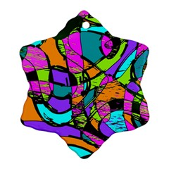 Abstract Art Squiggly Loops Multicolored Snowflake Ornament (two Sides) by EDDArt