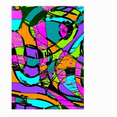 Abstract Art Squiggly Loops Multicolored Large Garden Flag (two Sides) by EDDArt