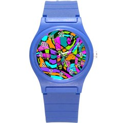 Abstract Art Squiggly Loops Multicolored Round Plastic Sport Watch (s) by EDDArt