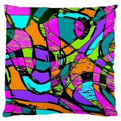Abstract Art Squiggly Loops Multicolored Large Cushion Case (one Side) by EDDArt
