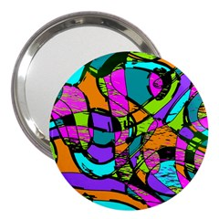 Abstract Art Squiggly Loops Multicolored 3  Handbag Mirrors by EDDArt