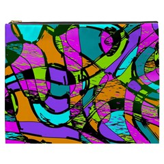 Abstract Art Squiggly Loops Multicolored Cosmetic Bag (xxxl)  by EDDArt