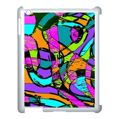 Abstract Art Squiggly Loops Multicolored Apple Ipad 3/4 Case (white) by EDDArt