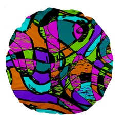 Abstract Art Squiggly Loops Multicolored Large 18  Premium Round Cushions by EDDArt