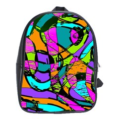 Abstract Art Squiggly Loops Multicolored School Bags (xl)  by EDDArt