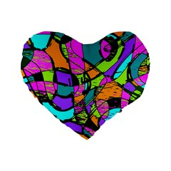Abstract Art Squiggly Loops Multicolored Standard 16  Premium Heart Shape Cushions by EDDArt