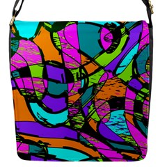 Abstract Art Squiggly Loops Multicolored Flap Messenger Bag (s) by EDDArt