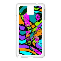 Abstract Art Squiggly Loops Multicolored Samsung Galaxy Note 3 N9005 Case (white) by EDDArt