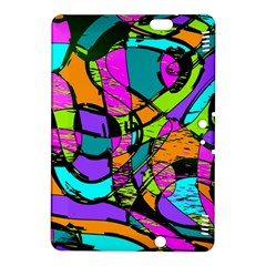 Abstract Art Squiggly Loops Multicolored Kindle Fire Hdx 8 9  Hardshell Case by EDDArt