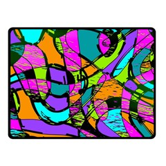 Abstract Art Squiggly Loops Multicolored Double Sided Fleece Blanket (small)  by EDDArt