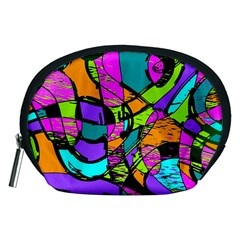 Abstract Art Squiggly Loops Multicolored Accessory Pouches (medium)  by EDDArt