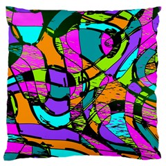 Abstract Art Squiggly Loops Multicolored Large Flano Cushion Case (two Sides) by EDDArt